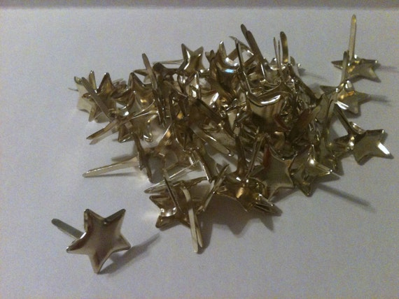 """Gold Star Brads - New package of 50  - 1/2"""" brads for scrapbooking"""
