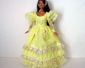Barbie Clothes Yellow Lace Dress