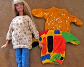 Barbie Shirt Trio Flowers Abstract and Paint Splatters