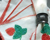 RESERVED FOR ANNA Vintage Strawberry Napkins - Linen - set of 6