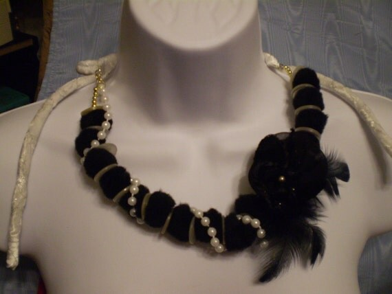 "SALE 58"" Necklace Choker Headband Black and White Pom Poms with Pearl Strand, Yo Yo and Feathers"