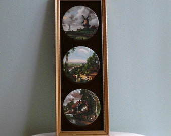Vintage pictures Wall Hanging Traditional Vintage English Ceramic Picture Triptych, hand made in England , Old Masters Series, 1971