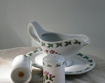 Gravy Boat,  Sauce Dish,  Salt and Papper  Shaker Set - Regal Collection - England - Cottage Chic - never been used - Great Gift