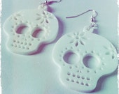 White Sugar Skull Earrings, Inspired by Mexican Day of the Dead