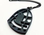 Bird in a Cage Black Acrylic Necklace