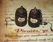 Pirate Jewelry,  Rum Barrel Earrings, Disney Pirates of the Caribbean, Blackbeards Ghost
