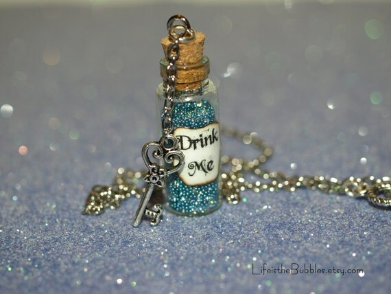Drink Me Alice in Wonderland Bottle Necklace with a Key Charm by Life is the Bubbles