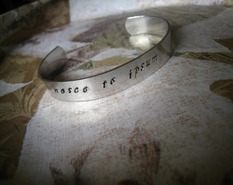 "Silver ""Nosce Te Ipsum"" Bangle in Latin, ""Know Thyself"", Plato's Socrates Mantra, Hand-Stamped Lightweight, Black Lettering, Gift Wrapped"