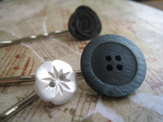 SALE - Vintage Button Bobby Pins, Large Blue Wooden Ombre Fade Button, Black Satin Rose, 1 Small Mother of Pearl White Flower, Gift Wrapped