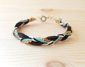 "Leather & Brass Braided Bracelet in Black and Teal, ""The Bohemian"""