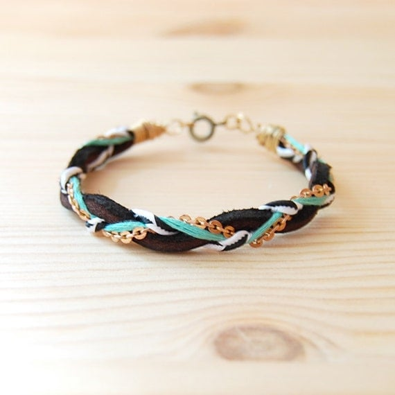 """Leather & Brass Braided Bracelet in Black and Teal, """"The Bohemian"""""""