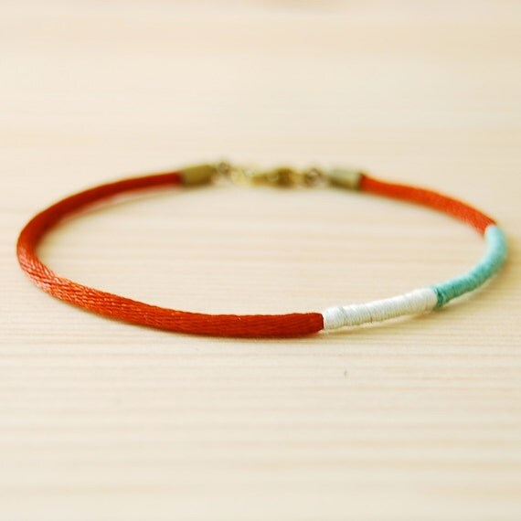 Lariat Colorblock Layering Bracelet: Red, Teal & White