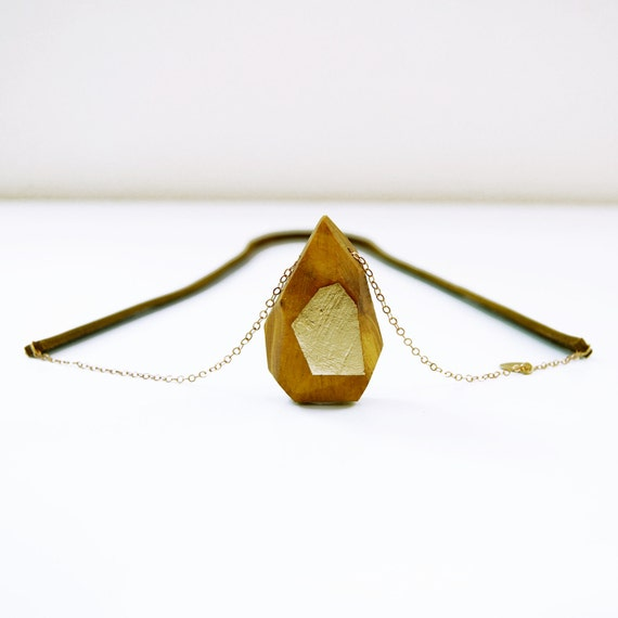 KARVE one-of-a-kind, gold leafed faceted wood and leather necklace:  no. 6 of 100