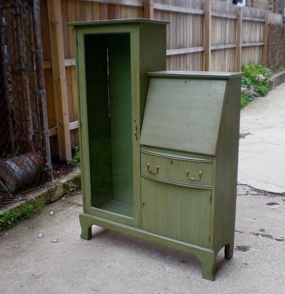 Vintage 50s Curio Cabinet W Secretary Desk Antiqued Green