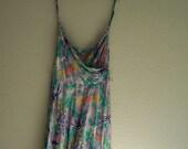 1970s Floral Resort Faux Wrap Dress