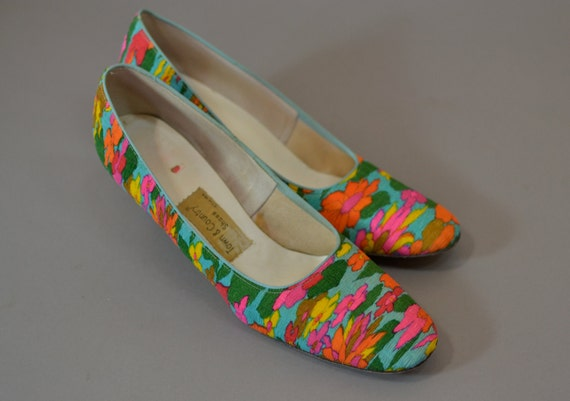 1960s Psychedelic Floral Heels