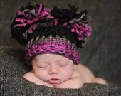 Pom Pom Hat, Knit Baby Purple Pink Grey Black Hat, Knit Baby Hat, Knit Pom Pom Hat, Baby Girl Hat, Newborn Baby Hat