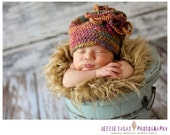 Baby Girl Beanie - Bright Colourful Crochet Hat