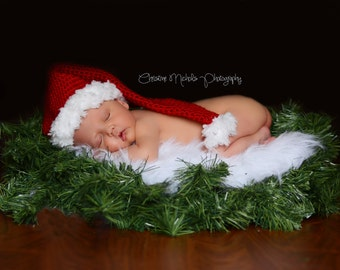 Baby Santa Hat, Christmas Photo Prop, Holiday Photo Prop, Baby Hat, Newborn Santa Hat, Santa Baby Hat, Baby Elf Hat