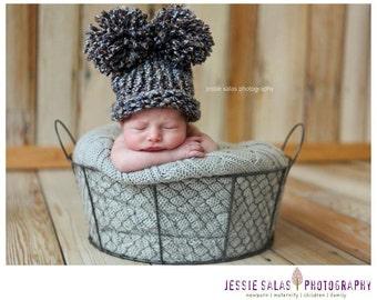 Baby Boy Hat Newborn Hat,  Knit Blue and Brown with Pom Poms, Knit Baby Hat, Pom Pom Hat, Newborn Pom Pom Hat, Newborn Hat, Baby Boy Hat