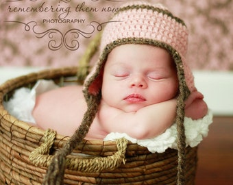 Baby Girl Hat, Baby Earflap Hat Newborn, Pink Brown Girl Ear Flap Hat, Crochet Baby Hat, Newborn Baby Hat, Baby Photo Prop