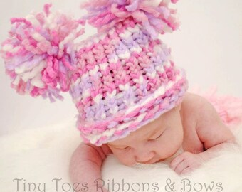Knit Baby Girl Hat, Pink Purple & White with Pom Poms, Pink Baby Hat, Baby Girl Pom Hat, Knit Baby Hat, Newborn Baby Hat, Baby Shower Gift