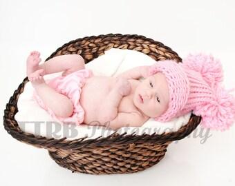 Baby Girl Pom Pom Hat, Knit Solid Pink Newborn Hat, Knit Baby Hat, Baby Girl Hat, Baby Boy Hat