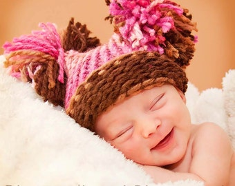 Pom Pom Hat, Baby Girl Knitted Pink & Brown Hat, Elf Hat, Knit Baby Hat, Knit Pom Pom Hat, Baby Girl Hat, Newborn Baby Hat, Baby Shower Gift