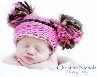 Baby Girl Hat Newborn, Knitted Pink Brown with Pom Poms, Knit Baby Hat, Knit Newborn Hat, Baby Photo Prop