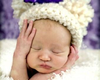 Crochet Baby Hat, Beige Pom Pom Hat, Baby Boy Hat, Baby Girl Hat, Unisex Baby Hat, Crochet Hat, Baby Photo Prop, Newborn Baby Hat