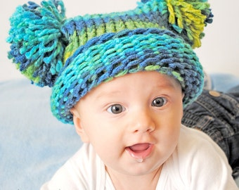 Baby Boy Hat, Knitted Blue & Green with Pom Poms, Knit Baby Hat, Pom Pom Hat, Baby Photo Prop, Baby Shower Gift, Baby Girl Hat, Baby Boy Hat