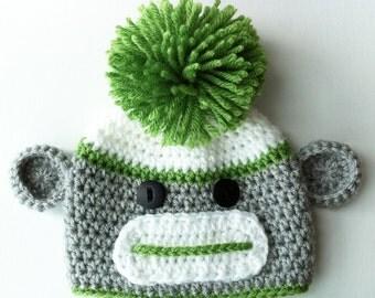 Baby Sock Monkey Beanie, Baby Beanie, Toddler Sock Monkey Hat, Child Sock Monkey Hat, Adult Sock Monkey Hat, Crochet Hat, Baby Boy Hat