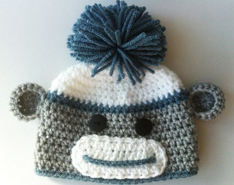 Boy Sock Monkey Hat, Crochet Baby Hat, Toddler Sock Monkey Hat, Baby Boy Hat, Baby Beanie, Child Sock Monkey Hat, Teen Sock Monkey Hat