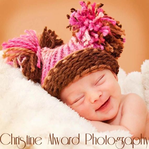 Pom Pom Hat, Baby Girl Knitted Pink & Brown Hat, Elf Hat, Knit Baby Hat, Knit Pom Pom Hat, Baby Girl Hat, Newborn Baby Hat