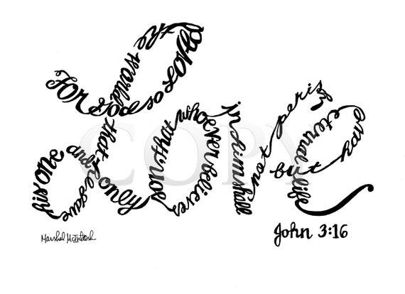 God's Love Handwritten - 8x10 Print