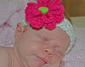 Stretchy crochet headband - 2 sizes and 2 interchangeable flowers-Pick from 33 colors and 5 styles