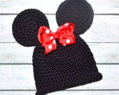 infant Crochet hat Minnie Mouse inspired