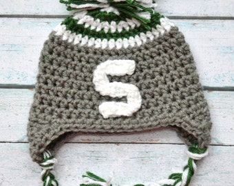 Toddler boy hat - infant boy hat - michigan state baby - newborn crochet hat - newborn boy hat - baby girl photo props - photo props baby