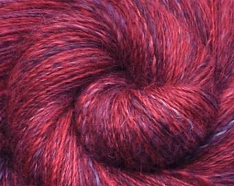 Hand spun yarn - Handpainted Wensleydale wool, DK weight, 1095 yards - Red Bird