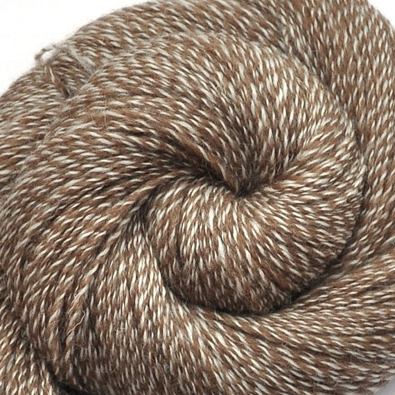 Handspun yarn - CAPPUCCINO - Natural color Shetland wool, fingering weight, 1155 yards