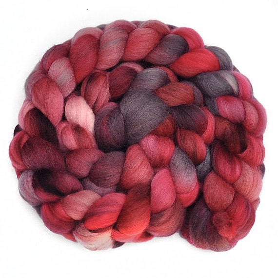 Handpainted roving - BURNING BRIGHT - Merino wool spinning fiber, 4.1 ounces