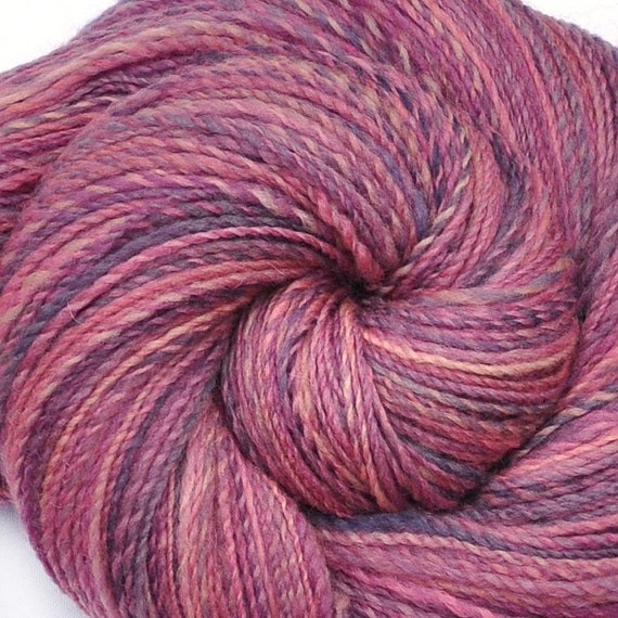 Handspun yarn - SOMETHING PINK -  Handpainted Falkland wool, fingering weight, 490 yards