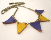 Bunting flag necklace - purple and yellow gold circus flags on bronze chain