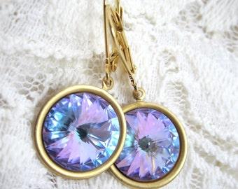 Swarovski vitrail earrings - light lavender vitral rivolis on gold leverbacks