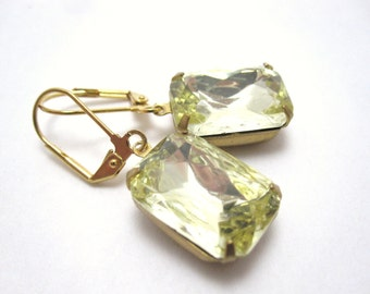 Yellow octagon earrings - jonquil lemon rhinestones on gold leverbacks