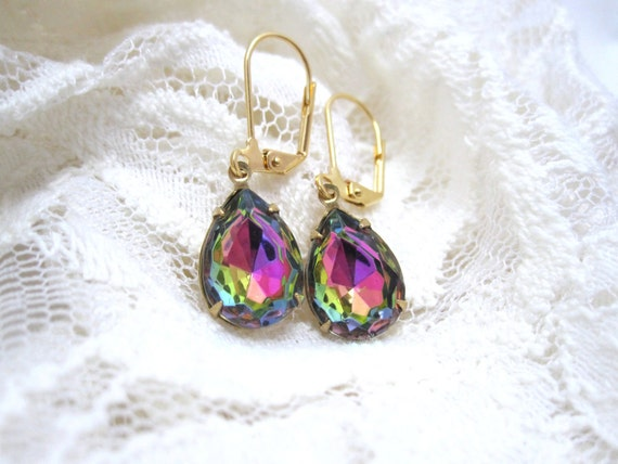 Rainbow vitrail earrings - stunning rainbow pears on gold leverbacks