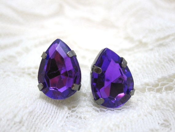 Purple stud earrings - violet pear crystals on titanium posts - nickel free for sensitive ears