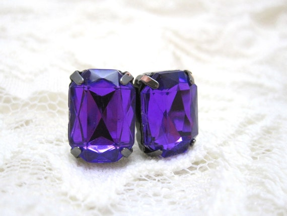Purple stud earrings - violet rectangle crystals on titanium posts - nickel free for sensitive ears