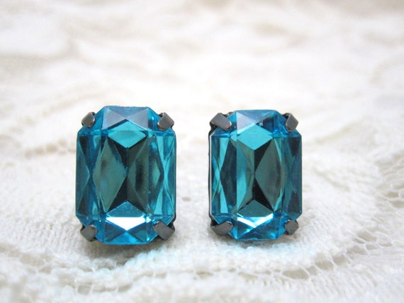 Aqua stud earrings - blue rectangle crystals on titanium posts - nickel free for sensitive ears
