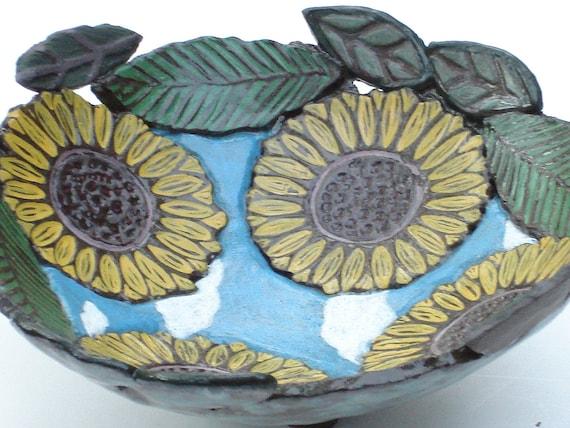 ceramic pottery sunflower bowl